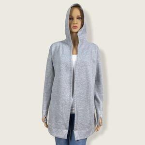 Active Life Gray Hooded Cardigan Sweatshirt Jacket